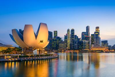 Singapore Skyline at the Marina during Twilight. by Sean Pavone