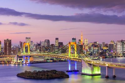 Tokyo, Japan Skyline with Rainbow Bridge and Tokyo Tower by Sean Pavone