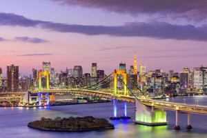 Tokyo, Japan Skyline with Rainbow Bridge and Tokyo Tower by Sean Pavone