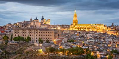 Toledo, Spain Town Skyline at Dusk at the Cathedral by Sean Pavone