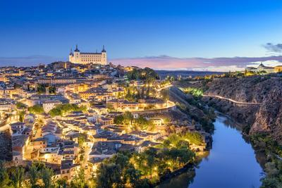 Toledo, Spain Town Skyline on the Tagus River at Dawn