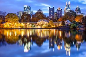 Atlanta, Georgia, USA Downtown City Skyline at Piedmont Park's Lake Meer. by SeanPavonePhoto