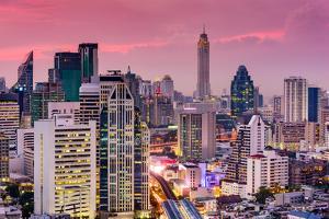Bangkok, Thailand City Skyline. by SeanPavonePhoto
