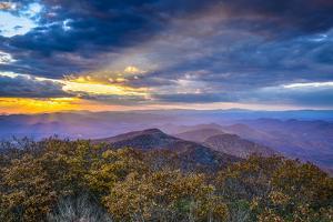 Blue Ridge Mountains in North Georgia, USA in the Autumn Season at Sunset. by SeanPavonePhoto
