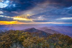 Blue Ridge Mountains in North Georgia, USA in the Autumn Season at Sunset. by SeanPavonePhoto