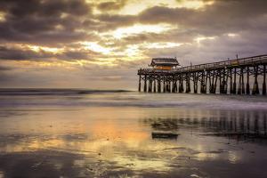 Cocoa Beach, Florida, USA Beach and Pier at Sunrise. by SeanPavonePhoto
