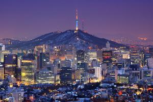 Downtown Skyline of Seoul, South Korea with Seoul Tower. by SeanPavonePhoto