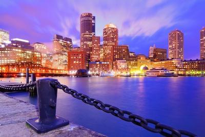 Financial District Of Boston, Massachusetts Viewed From Boston Harbor