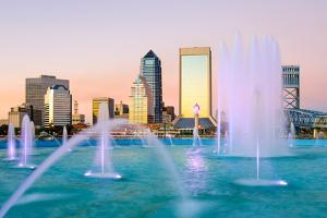 Jacksonville, Florida Fountain Skyline by SeanPavonePhoto