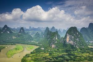 Karst Mountain Landscape in Xingping, Guangxi Province, China. by SeanPavonePhoto