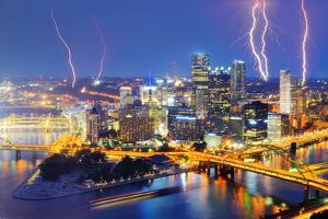Lightning among Skyscrapers in Downtown Pittsburgh, Pennsylvania, Usa. by SeanPavonePhoto