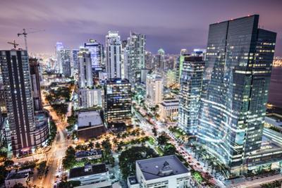 Miami, Florida, USA Downtown Nightt Aerial Cityscape at Night. by SeanPavonePhoto
