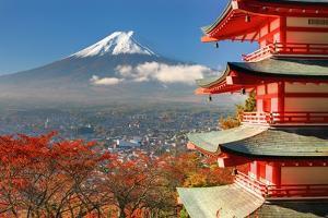Mt. Fuji Viewed From Behind Chureito Pagoda by SeanPavonePhoto