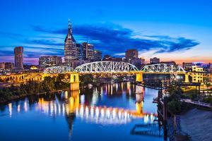 Nashville, Tennessee Downtown Skyline at Shelby Street Bridge. by SeanPavonePhoto