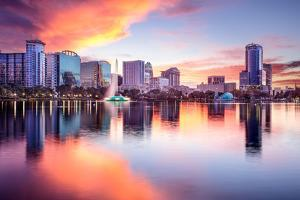Orlando, Florida, USA Downtown City Skyline from Eola Park. by SeanPavonePhoto