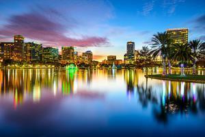 Orlando, Florida, USA Downtown City Skyline on Eola Lake. by SeanPavonePhoto