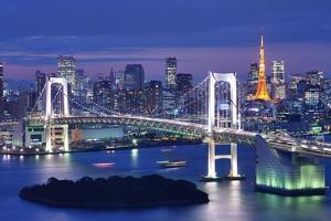 Rainbow Bridge Spanning Tokyo Bay with Tokyo Tower Visible in the Background. by SeanPavonePhoto