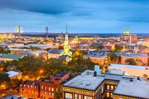 Savannah, Georgia, USA Downtown Skyline at Night. by SeanPavonePhoto