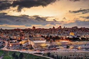 Skyline of the Old City and Temple Mount in Jerusalem, Israel. by SeanPavonePhoto