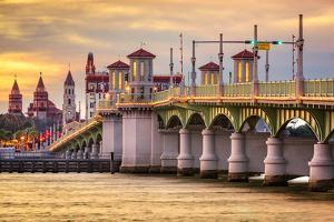 St. Augustine, Florida, USA City Skyline and Bridge of Lions. by SeanPavonePhoto