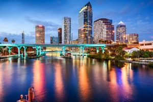 Tampa, Florida, USA Downtown City Skyline over the Hillsborough River. by SeanPavonePhoto