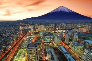 View of Yokohama and Mt. Fuji in Japan. by SeanPavonePhoto