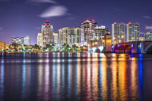 West Palm Beach, Florida Nighttime Skyline. by SeanPavonePhoto