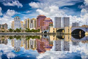 West Palm Beach, Florida, USA Downtown over the Intracoastal Waterway. by SeanPavonePhoto