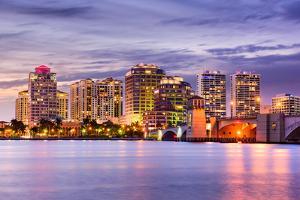 West Palm Beach, Florida, USA Downtown Skyline. by SeanPavonePhoto
