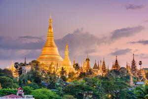 Yangon, Myanmar View of Shwedagon Pagoda at Dusk by SeanPavonePhoto