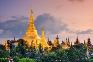 Yangon, Myanmar View of Shwedagon Pagoda at Dusk. by SeanPavonePhoto