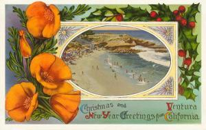 Season's Greetings from Ventura, California, Beach