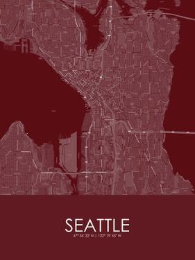 Seattle, United States of America Red Map