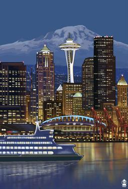 Seattle, Washington At Night - Image Only
