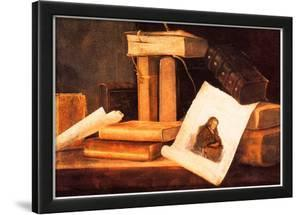 Sebastian Stoskopff Still Life with Books and a Rembrandt Etching Art Print Poster
