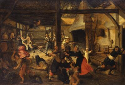 Bandits Attacking a Peasant Family in an Interior