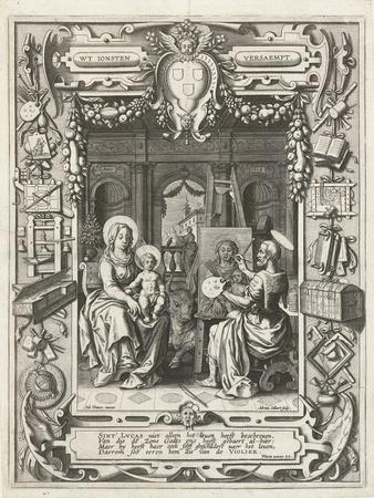 Coat of arms of the Guild of Saint Luke with Saint Luke painting Madonna and Child, 1620-21