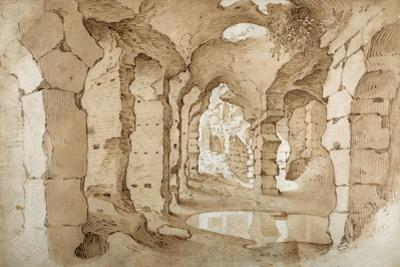 Inside the Ruins of the Colosseum (Pen and Brown Ink with Brown Wash on White Paper)
