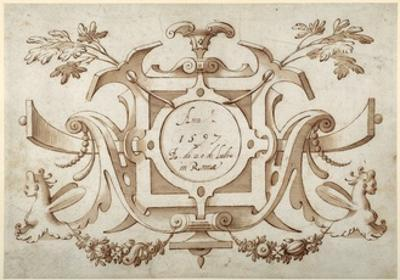 Strapwork Cartouche Associated with the Set of His Roman Views (Pen and Brown Ink with Brown Wash o