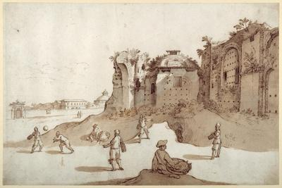 Young Men Playing Pelota Inside the Baths of Diocletian