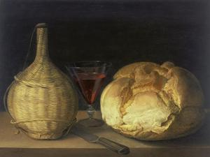 Still Life with Demijohn, Goblet and Bread, 1630-35 by Sebastiano del Piombo