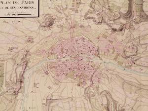 """Map of Paris and Its Surroundings, from """"Oisivetes"""" by Sebastien Le Pretre de Vauban"""