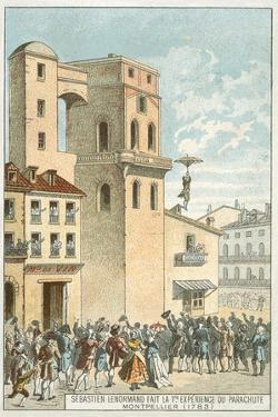 Sebastien Lenormand Making the First Parachute Descent, Montpellier, 1783