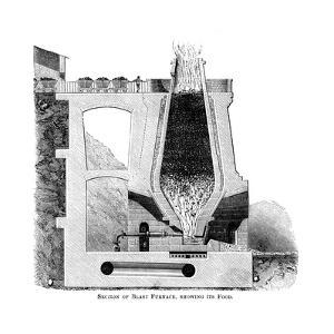 Section of a Blast Furnace, Showing its Food, C1880