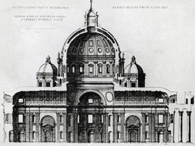 Section of St. Peter's Basilica in Vatican from Drawing by Michelangelo