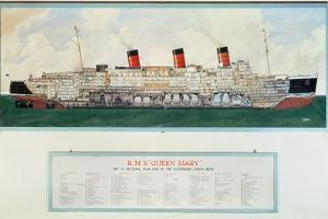 Sectional Plan of R.M.S. Queen Mary by G.Havis