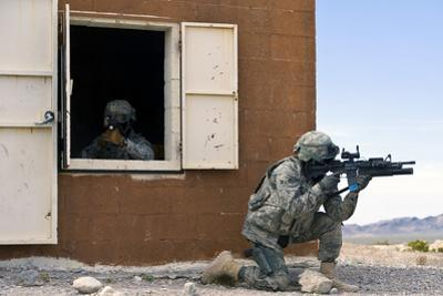Security Forces Airmen Guard a Building During Training