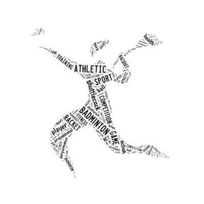 Badminton Player Pictogram With Black Color Words On White Background by seiksoon