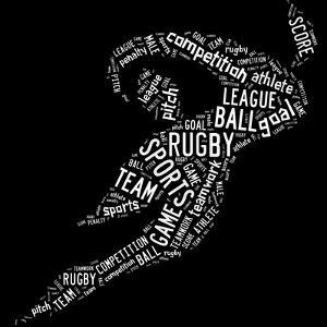 Rugby Football Pictogram With White Wordings by seiksoon