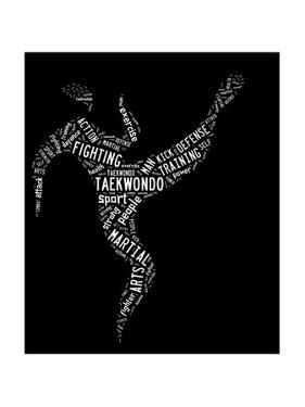 Taekwondo Pictogram With Related Wordings On Black Background by seiksoon